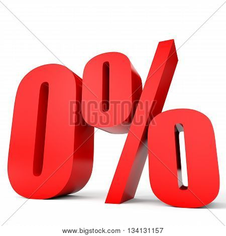 Discount 0 Percent Off. 3D Illustration.