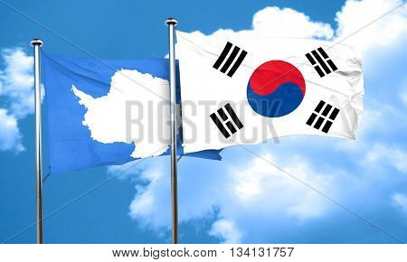 antarctica flag with South Korea flag, 3D rendering