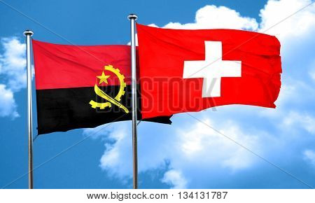 Angola flag with Switzerland flag, 3D rendering