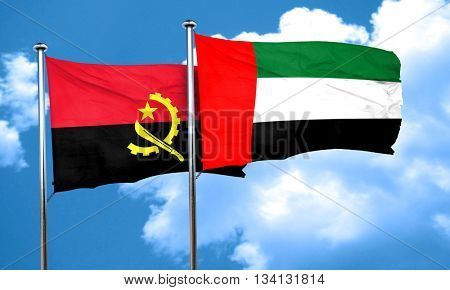 Angola flag with UAE flag, 3D rendering
