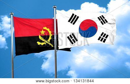 Angola flag with South Korea flag, 3D rendering