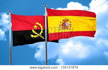 Angola flag with Spain flag, 3D rendering