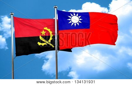 Angola flag with Taiwan flag, 3D rendering