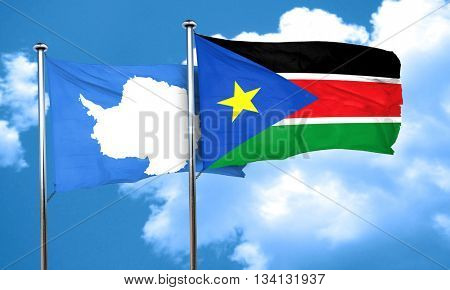 antarctica flag with South Sudan flag, 3D rendering