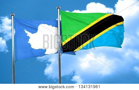 antarctica flag with Tanzania flag, 3D rendering
