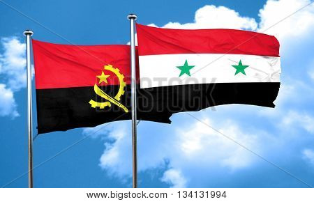 Angola flag with Syria flag, 3D rendering