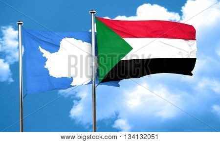 antarctica flag with Sudan flag, 3D rendering