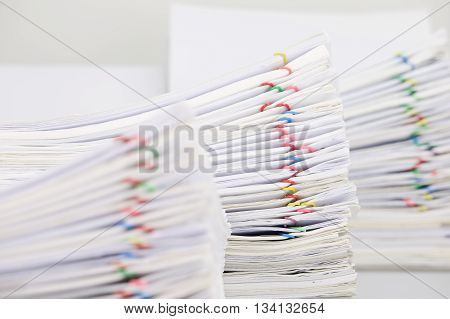 Pile Paperwork Have Blur Overload Document As Foreground And Background