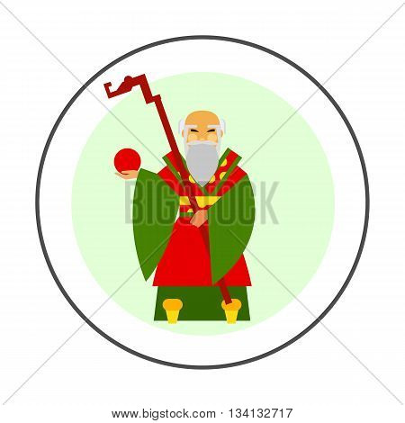 Chinese old wise man vector icon. Colored illustration of Chinese male character holding stick and fruit