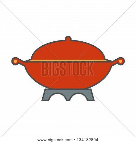 Cooking pot vector icon. Colored line icon of large cooking pot with handles and cover