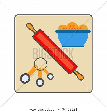 Cooking set vector icon. Colored line illustration of rolling pin, spoon set and bowl