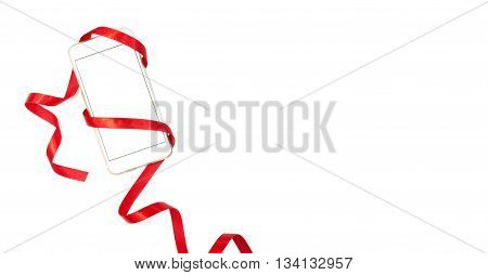 Phone wrapped in red ribbon with red heart in the center of screen perfect for Valentine's day card design isolated on white background with lots of space for text