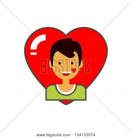 Heart and male portrait icon. Colored line icon of happy male character with kiss trace on check on red heart background