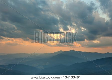 Sundown Sky and Mountains Range Background, Beautiful World Landscape