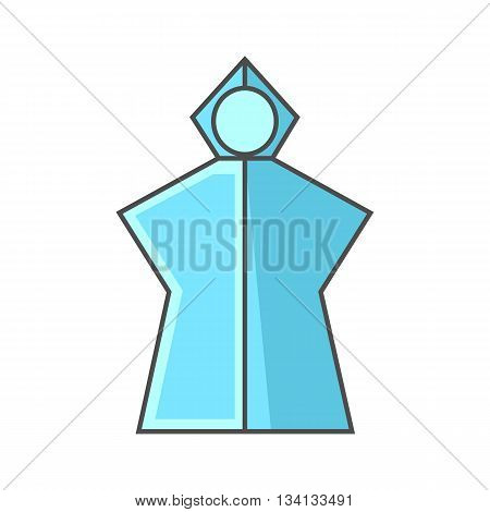 Rain poncho vector icon. Colored line icon of lightweight rain poncho with hood