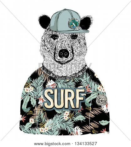 tropical pattern dressed bear illustration