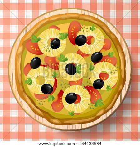 Pizza Hawaiian with tasty pineapple or ananas tomato sauce black olive cheese mozzarella oregano fresh parsley and species on wooden cutting board on red-white tablecloth. Top view close-up vector illustration.