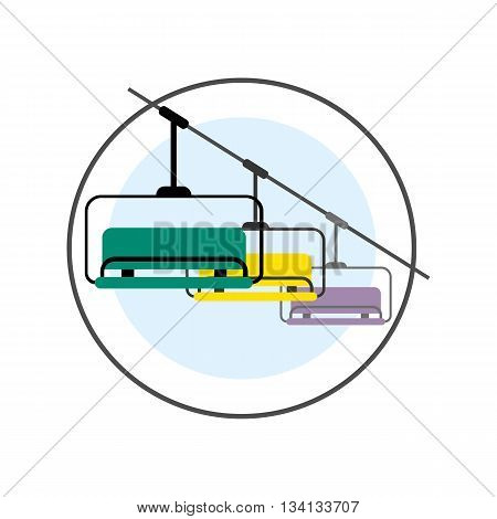 Ski Lift vector icon. Colored line illustration of ski lift with three benches