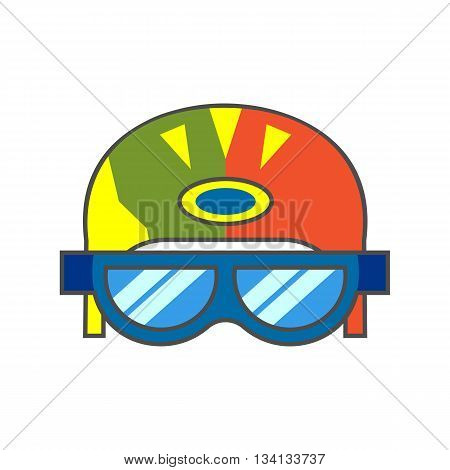 Skiers helmet vector icon. Colored line icon of skiers helmet with goggles
