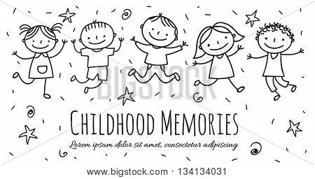 Kids jumping with joy cartoon illustration with text place
