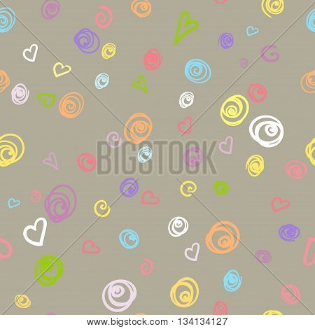 Seamless pattern with colored unicorn and doodle of felt-tip pen. Vector illustration