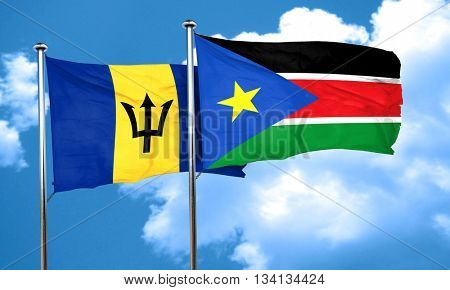 Barbados flag with South Sudan flag, 3D rendering