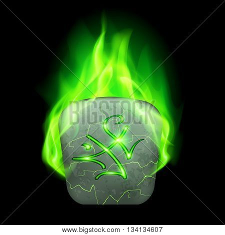 Cracked quadrangular stone with magic rune in green flame