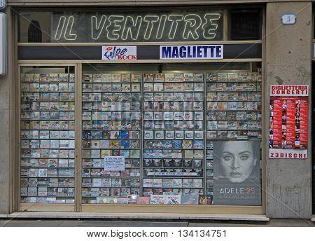 Padua Italy - November 25 2015: shop window of musical store in Padua Italy