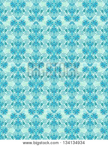 Art nouveau abstract pattern in aqua and teal