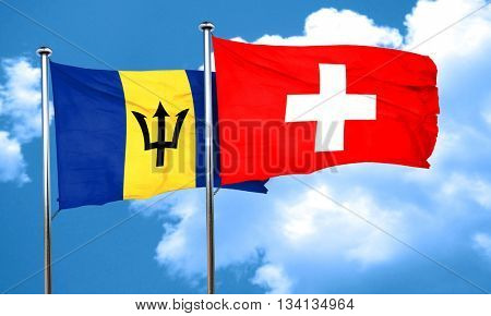 Barbados flag with Switzerland flag, 3D rendering