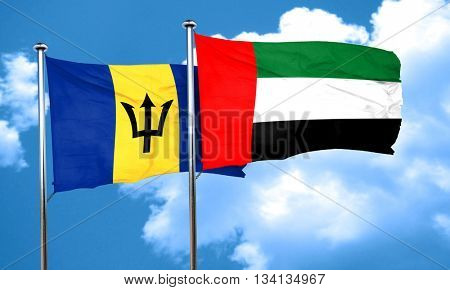 Barbados flag with UAE flag, 3D rendering