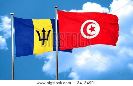Barbados flag with Tunisia flag, 3D rendering