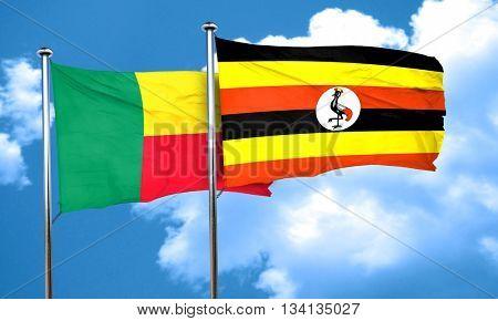 Benin flag with Uganda flag, 3D rendering