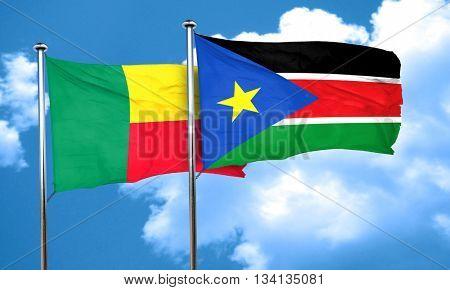 Benin flag with South Sudan flag, 3D rendering