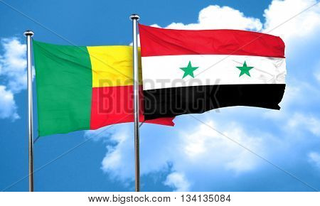 Benin flag with Syria flag, 3D rendering