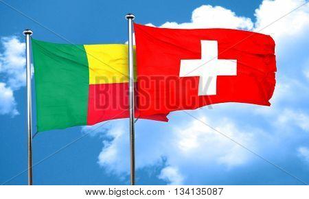 Benin flag with Switzerland flag, 3D rendering