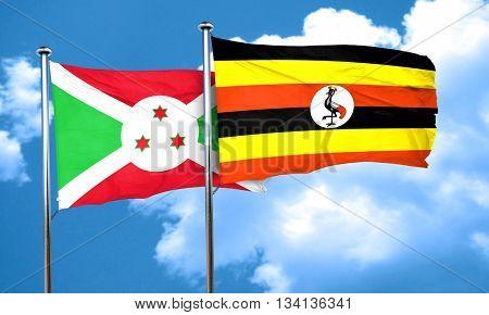 Burundi flag with Uganda flag, 3D rendering