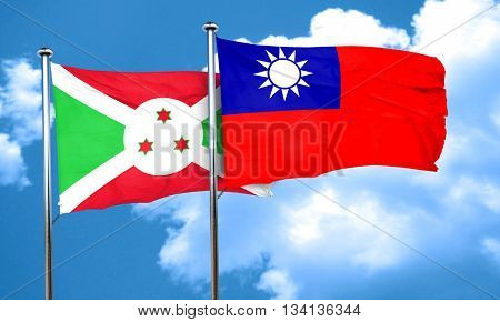 Burundi flag with Taiwan flag, 3D rendering