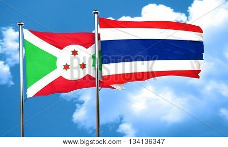 Burundi flag with Thailand flag, 3D rendering