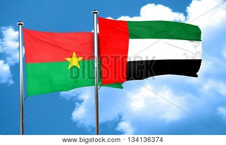 Burkina Faso flag with UAE flag, 3D rendering