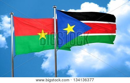 Burkina Faso flag with South Sudan flag, 3D rendering