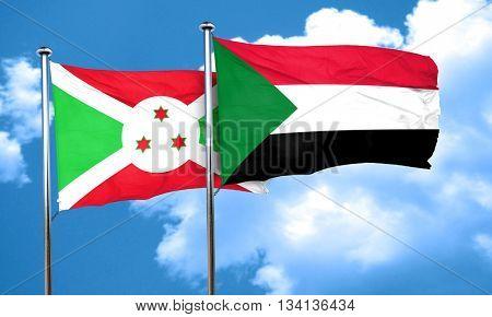 Burundi flag with Sudan flag, 3D rendering