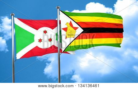 Burundi flag with Zimbabwe flag, 3D rendering