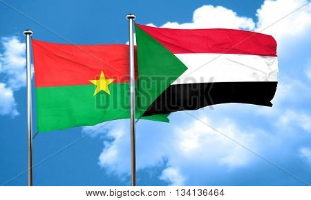 Burkina Faso flag with Sudan flag, 3D rendering