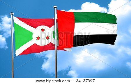 Burundi flag with UAE flag, 3D rendering