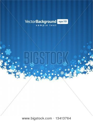 Blue abstract christmas background with 3d snowflake