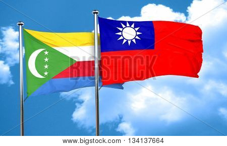 Comoros flag with Taiwan flag, 3D rendering