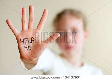 Child need help. Violence concept. Body parts