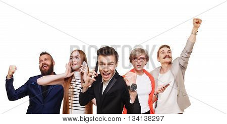 Group of happy people call cell phones and celebrate news of win prize, success. Connection, communication. Buyers, discount and sale. Emotional men and women isolated, shopping, mobile app.
