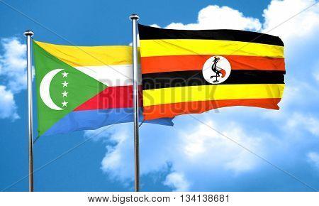 Comoros flag with Uganda flag, 3D rendering